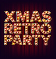 christmas retro party invitation sign 3d vector image
