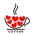 coffee cup with red hearts icon vector image