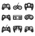 gamepads icon set on white background vector image