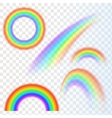 Rainbows in different shape realistic set on vector image