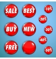 Set of red shiny buttons on sale vector image