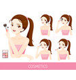 woman with step to apply cheeks makeup vector image