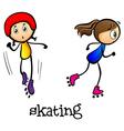 Two girls skating vector image vector image