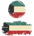 Kuwait round and square grunge flags vector image