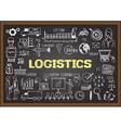 Logistics on chalkboard vector image
