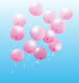 Pink inflatable air balls fly on sky vector image