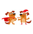two dog characters christmas hat superhero cape vector image