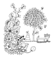 zentangl bench and a tree vector image