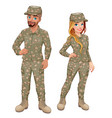 couple of male and female soldiers vector image