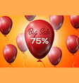 Red balloons with an inscription big sale seventy vector image