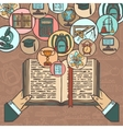 Book and education sketch icons vector image