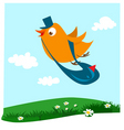 cartoon bird postman vector image vector image
