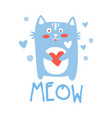 cute cartoon cat with heart meow colorful hand vector image