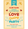 Love dating party flyer vector image