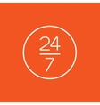 Open 24 hours and 7 days in wheek sign line icon vector image