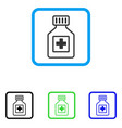 pharmacy vial framed icon vector image