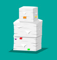 pile of papers office documents heap vector image