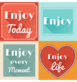 Set of Enjoy Life Motivating Retro Cards Design vector image