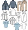 jacket pants shirt apparel sketch fashion man boy vector image