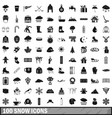 100 snow icons set simple style vector image