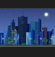 flat style modern design of urban night city vector image