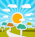 Rural Landscape Nature with Paper Trees vector image vector image