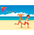 Children running with a kite on the beach vector image