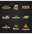 Set of africa flag logo design Jamaica music vector image