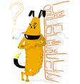 angry dog with smoking animal vector image