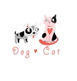 Lovers funny cats and dog vector image