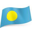National flag of palau yellow circle on blue vector image