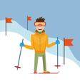 skier coming down the mountain vector image