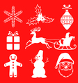 xmas sil set2 red vector image vector image