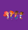 joyous school friends happily jumping with their vector image vector image
