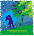 Couple kissing - Abstract card with the tropics in vector image vector image