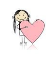 Cute girl with valentine heart place for your text vector image