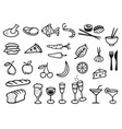 collection with 27 different food and drink vector image