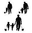 family with dog set silhouette in black vector image
