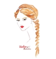 Female face Braid hairstyle vector image