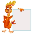 Funny red rooster holding white sheet Cock symbol vector image