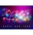 Happy new year 2016 bokeh blur color star shape vector image