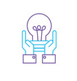 line businessman with bulb idea with hands up vector image