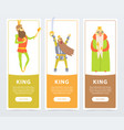 vertical banners set with different kings kind vector image