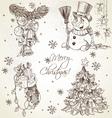 Merry Christmas vintage sketch draw set vector image vector image