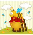bee on a pot of honey vector image vector image