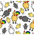 chicken family pattern vector image vector image
