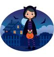 Little Girl in Cat Costume Halloween vector image vector image