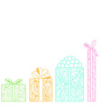 Bright gift boxes bottom on white background vector image