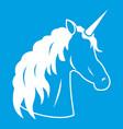 unicorn icon white vector image