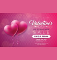 valentines day sale with heart on red vector image